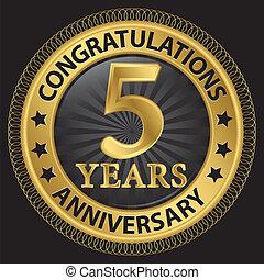 gratulálok, szalag, arany, évforduló, ábra, címke, vektor, 5, év