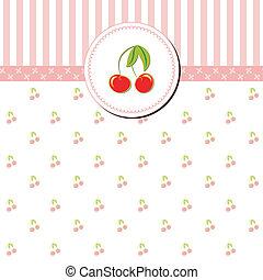 gretting, cseresznye, színes, kártya