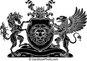 griffmadár, család, bőr, ló, címer, fegyver, pajzs