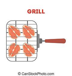 grill, lattice., fish, lazac, ízletes, friss, hússzelet