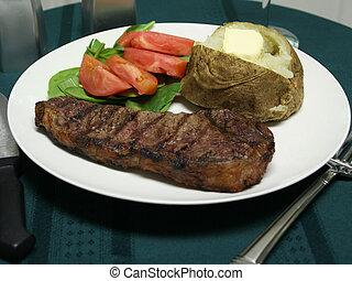 grillezett, felszerelés, vacsora, hússzelet