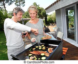 grillsütő, párosít, főzés, hús, kert