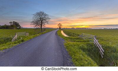 groningen, tartomány, felett, farmland, napnyugta