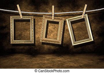 grunge, arany, szomorú, fénykép, háttér, keret