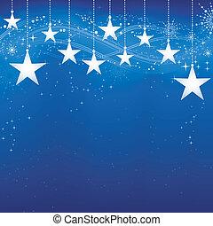 grunge, blue háttér, hó, elements., karácsony, ünnepies, sötét, csillaggal díszít, pehely