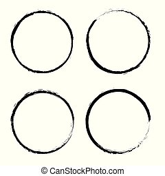 grunge, circles., állhatatos, vektor, kerek, shapes.