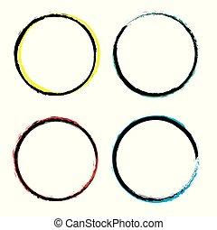 grunge, circles., style., bicolor, állhatatos, vektor, kerek, shapes.