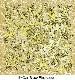 grunge, elvont, díszítés, sárga háttér, virágos