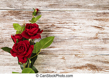 grunge, fából való, rózsa, menstruáció, háttér, piros, virágos, kártya