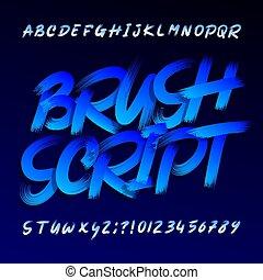 grunge, forgatókönyv, uppercase táska, letters., ecset, font., abc