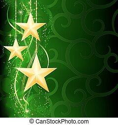 grunge, háttér, hó, elements., karácsony, ünnepies, arany-, zöld, sötét, csillaggal díszít, pehely
