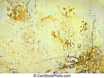 grunge, háttér, művészet, sárga virág