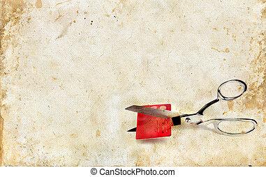 grunge, hitel, éles, háttér, olló, kártya