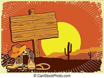 .grunge, napnyugta, western, háttér, cowboy's, vad, táj