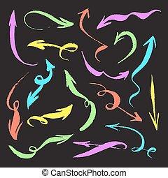 grunge, neon, set., nyílvesszö, elszigetelt, kéz, húzott