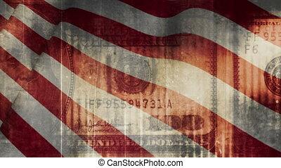 grunge, pénz, amerikai, csíkoz, hurkolás, lobogó, háttér