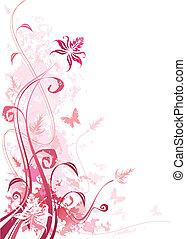 grunge, rózsaszínű, virágos