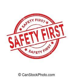 grunge, stamp., biztonság, kerek, piros, először