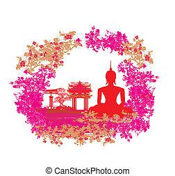 grunge, struktúra, buddha, táj, ázsiai, árnykép