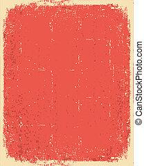 grunge, struktúra, szöveg, öreg, vektor, paper., piros