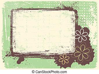 grunge, szöveg, dekoráció, vektor, háttér, virágos