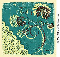 grunge, text., háttér, virágos, vektor, dekoráció