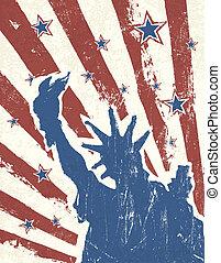 grunge, themed, háttér., amerikai, vector., nap, szabadság