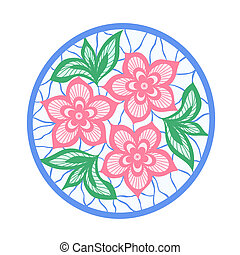 guipure, zöld, embroidery., követés, menstruáció, element.