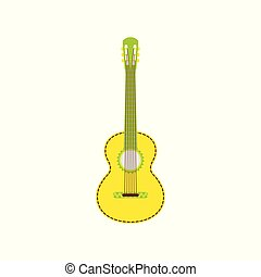 guitar., sárga, vektor, ábra, elszigetelt, háttér., fehér, mexikói