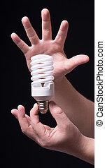 gumó, fény, black háttér, kéz