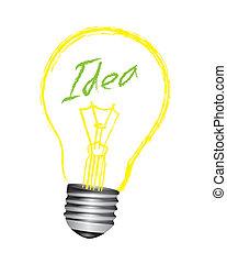 gumó, vektor, gondolat, fény