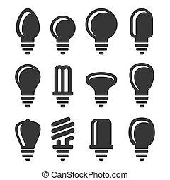 gumók, állhatatos, ikonok, fény, háttér., vektor, fehér