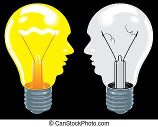gumók, gazdag koncentrátum, (ideas, fény, brain), fekete, emberi, backgro