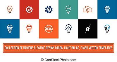 gumók, jel, vektor, elektromos, állhatatos, fény, tervezés, fellobbant