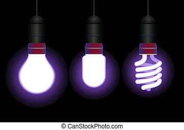 gumók, megmentés, fény, energia, -, vektor, editable, fluoreszkáló