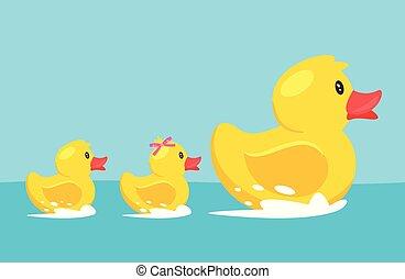 gumi, sárga, család, kacsa