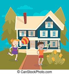 gun., fiú, labda, nyár, vacation., house., ábra, gyerekek, víz, vektor, leány, játék, boldog