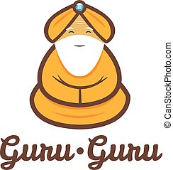guru, modern, elmélkedik, vektor, minimalistic, jel