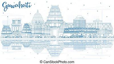 guwahati, reflections., india, épületek, láthatár, város, áttekintés, kék