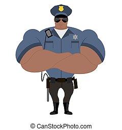 gyám, fekete, performance., uniform., strongman, rendőrség, nightstick., american., blue törvény, erős, jelvény, policeman., afrikai, tiszt