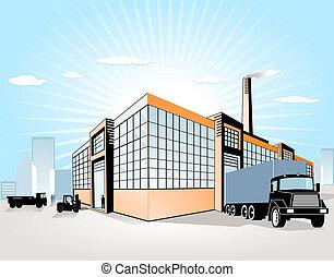 gyár, szállít