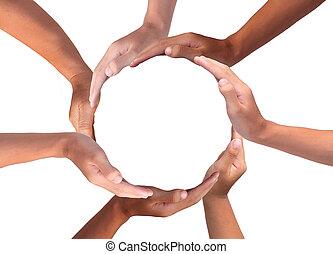gyártás, emberi kezezés, sok nemzetiségű, fogalmi, karika, jelkép