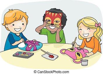 gyártás, gyerekek, maszk