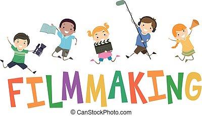 gyártás, gyerekek, stickman, film, ábra
