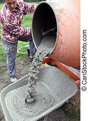 gyártás, kézműves, cement