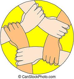 gyártás, karika, emberi kezezés