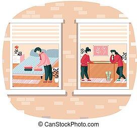 gyártás, szoba, ruhanemű, ember, neatly, hálószoba, rajzoló, ágy, model., mód, összecsukható