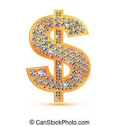 gyémánt, dollár, ikon