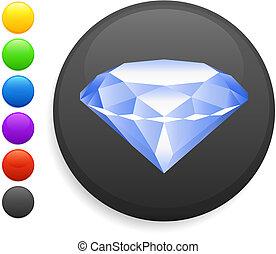 gyémánt, gombol, ikon, kerek, internet