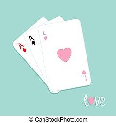 gyémánt, háttér, ásó, három, szív, aláír, játék, lakás, szeret, piszkavas, tervezés, kártya, ász